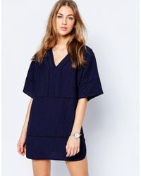 ASOS | Blue Tunic Dress In Linen Look With Stitch Detail | Lyst