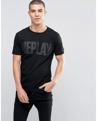 Replay - Tonal Logo T-shirt In Black for Men - Lyst
