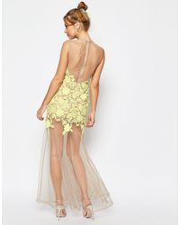 ASOS - Metallic Asos Salon Lace Placed Maxi Dress On Naked Mesh - Lyst