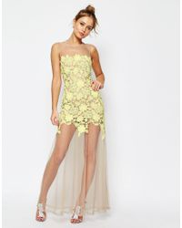 ASOS - Metallic Salon Lace Placed Maxi Dress On Naked Mesh - Lyst