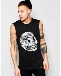 Cheap Monday - Vest Muscle Moon Skull Print In Black for Men - Lyst