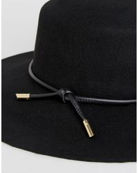 Ted Baker - Black Rope Trim Flat Brimmed Hat - Lyst