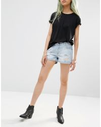 Just Female - Black Bold Destroyed Shorts - Lyst