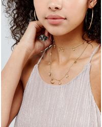 ASOS | Metallic Multirow Fine Charm Layered Necklace | Lyst
