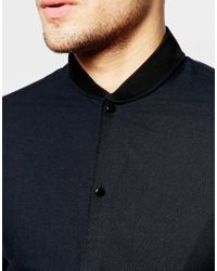 Jack & Jones - Black Bomber Shirt In Slim Fit for Men - Lyst
