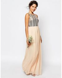 TFNC London - Pink Wedding Sequin Maxi Dress With Open Back - Lyst
