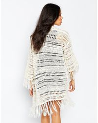 Brave Soul - Multicolor Longline Cardigan With Tassel Detail - Lyst