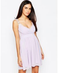 Club L - Gray Wrap Front Dress With Crochet Straps - Lyst