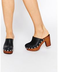 ASOS - Brown Ohio Leather Clog Heels - Lyst