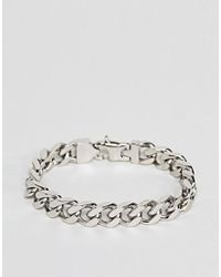 Fred Bennett - Metallic Silver Curb Chain Bracelet for Men - Lyst