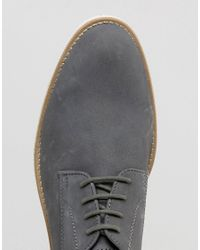 Dune | Gray Beatnik Derby Shoes In Grey Suede for Men | Lyst