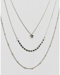Pieces - Metallic Layered Trio Necklace - Lyst