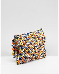 ASOS - Blue Multi Coloured Bead Cross Body Bag - Lyst