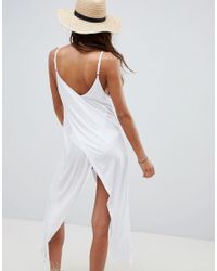 ASOS DESIGN - White Cross Front Wrap Jersey Beach Cover Up - Lyst