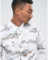 Bellfield - White Shirt In Mountain Print for Men - Lyst