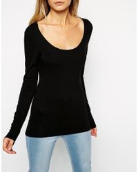 ASOS - Black The Scoop Neck Top With Long Sleeves - Lyst