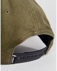 DIESEL - Green Logo Cap In Khaki for Men - Lyst