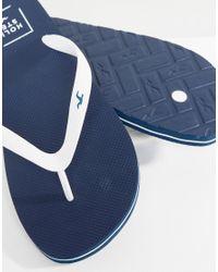 Hollister - Blue Logo Thongs In Navy for Men - Lyst