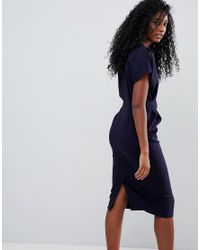 ASOS - Blue Split Cap Sleeve Midi Dress With Modern Ring Belt - Lyst