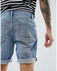 ASOS - Blue Denim Shorts In Slim Mid Wash for Men - Lyst