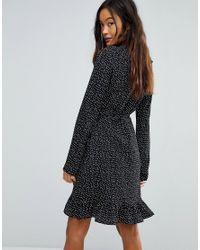 Vila - Black Spotty Wrap Dress - Lyst