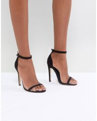 Truffle Collection - Black Barely There Heel Sandal - Lyst