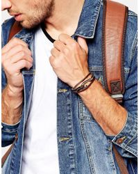 Seven London - Brown Hook Leather Wrap Bracelet In Tan Exclusive To Asos for Men - Lyst