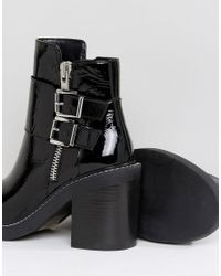 ASOS - Black Elaby Leather Patent Heeled Ankle Boots - Lyst