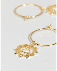 Orelia - Metallic Gold Plated Chakra Hoop Earrings - Lyst