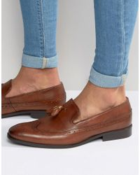 ASOS - Brown Brogue Loafers In Tan Leather With Tassel for Men - Lyst