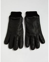 French Connection - Black Gants moiti en cuir et en maille for Men - Lyst