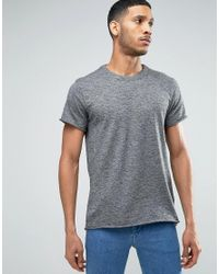 SELECTED - Black T-shirt With Raw Hem for Men - Lyst