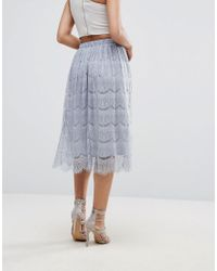Boohoo - Gray Lace Midi Skirt - Lyst
