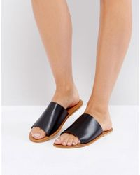 Warehouse - Black Leather Slider Sandal - Lyst