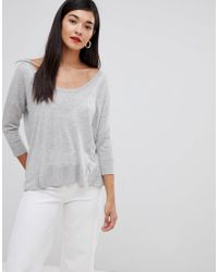 French Connection - Gray Spring Lightweight Silk Blend Sweater - Lyst