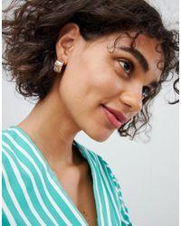 Reclaimed (vintage) - Metallic Inspired Textured Chunky Hoop Earrings - Lyst