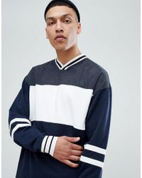 ASOS DESIGN - Blue Asos Oversized Longline V Neck Sweatshirt With Colour Blocking for Men - Lyst