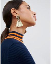 ASOS - Metallic Metal Disc Tassel Earrings - Lyst