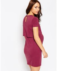 ASOS - Red Bodycon Dress With Double Layer - Lyst