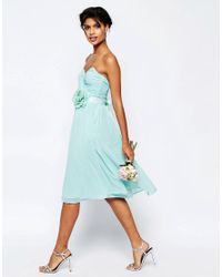 ASOS | Blue Wedding Chiffon Midi Bandeau Dress With Detachable Corsage Belt | Lyst