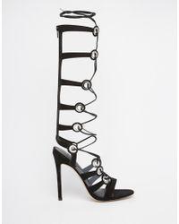 ASOS - Black Headquarter Lace Up Heeled Sandals - Lyst
