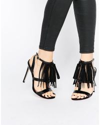 ASOS - Black Hey Girl! Heeled Sandals - Lyst