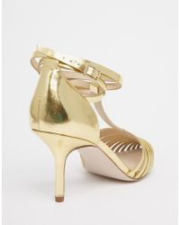 ASOS - Metallic Skyline Caged Pointed Heels - Gold - Lyst