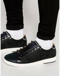 Ted Baker - Black Borgeo Nubuck Leather Croc Trainers for Men - Lyst