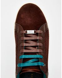 Ted Baker - Gray Slowne Suede Trainers - Lyst
