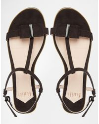 Faith - Jessie Black Bow Flat Sandals - Black - Lyst