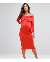 ASOS - Red Tall Origami Pleated Bardot Dress In Scuba - Lyst