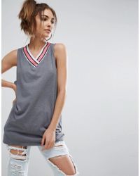 ASOS - Gray Tank With Bright Sports Tipping - Lyst