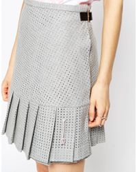 ASOS - Gray Le Kilt For Hem Pleat Mini Kilt - Lyst