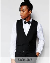 Hart Hollywood - Black By Nick Hart 100% Wool Double Breasted Waistcoat In Slim Fit for Men - Lyst